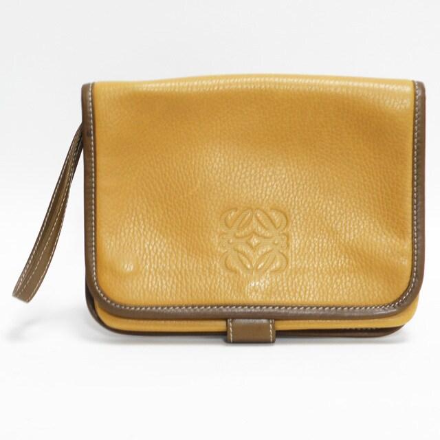 美品ロエベ クラッチバッグ からし色 ヴィンテージ 良品 正規品  < ブランドの