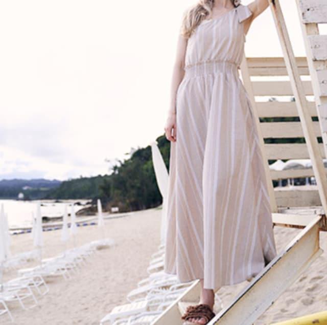 To the Sea ワンショルダーストライプワンピース フリーサイズ  < 女性ファッションの