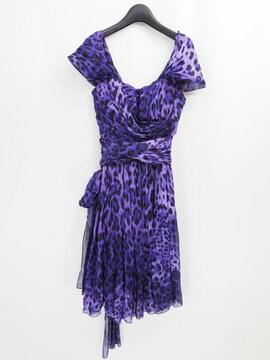 ドルチェ&ガッバーナ パープル レオパード シルク ドレス ワンピース