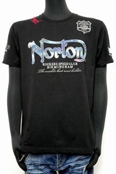 新品Norton202N1001ブルースチールTシャツ黒 L 吸水速乾素材