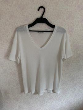 ZARA TRAFALUCVネックTシャツ 白ゆったりMザラ