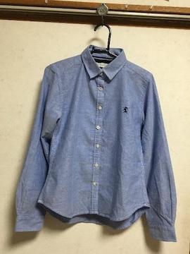 GIORDANOジョルダーノライオン刺繍長袖シャツ水色ライトブルーS