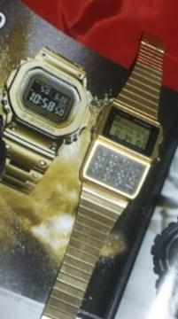カシオ稀少データバンクDBC-610薄型デジタル腕時計ゴールドメタルバンド