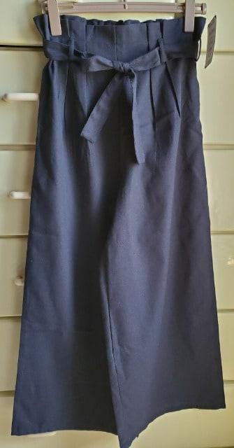 大きいサイズ☆3L☆ウエストゴム☆リボン☆ワイド☆ネービー  < 女性ファッションの