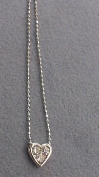 K18WG本物刻印あり!ハート型トップ!ダイヤ石付きネックレス!1、8グラム