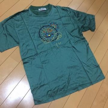 マリン刺繍◆光沢グリーン◆半袖Tシャツ◆M