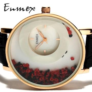 新品 未使用★ENMEX【シェル文字盤】クリスタル 大型腕時計