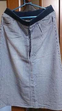 ウエストリブ☆ストライプ柄ストレッチスカート69〜77