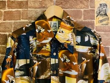 実寸M/L!70s ビンテージ ミッキー ケニントン 総柄 シャツ 古着 ポリシャツ ディスコ