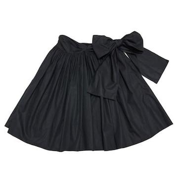 新品ミュウミュウmiu miuリボン ギャザースカート 黒 #42