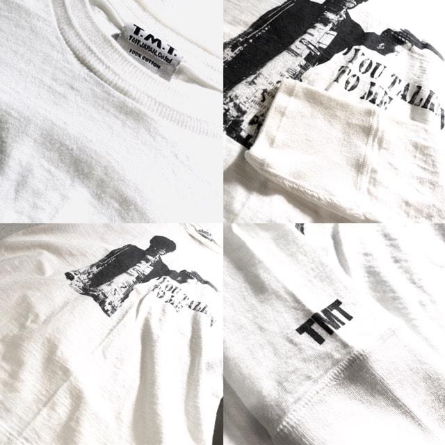 TMT■ロングTシャツ■ワンポイント■拳銃■ティーエムティー■白 < ブランドの
