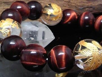 金四神獣水晶14ミリ§レッドタイガーアイ12ミリ数珠