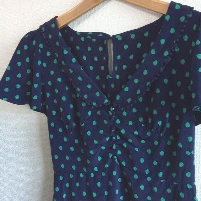 ◆INDEX/インデックス◆SPBレトロミニワンピ★ネイビーM*フリル袖くるみボタン美品♪ < ブランドの
