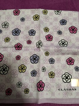 新品 CLATHAS  クレイサス 大判 ハンカチ パープル 紫