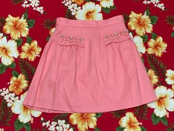 リランドチュール☆可愛いピンクミニスカート☆キラキラビジュー付☆