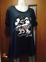 新品3L/大きいサイズ/ミッキー&ミニー/Tシャツ/コットン100