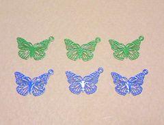 透かしカラーチャーム蝶6個ブルー&グリーン