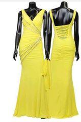 yellow黄色ビジューロングドレスSサイズ
