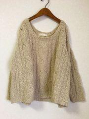 ((( JEANASiS )))wool混ケーブル編みニット beige
