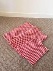 はぎれ布地/生地 赤×白 ギンガムチェック柄 5枚セット 新品