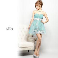 L ミニドレス Jewels グリーン タイト×フレア 新品 J16201