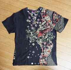 メンズ 和柄Tシャツ ラメ 桜吹雪 鯉の滝登り L