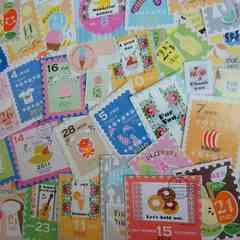 ♪切手風カットシール50枚まとめ売り(K)雑貨コラージュ・ラッピングなどに♪