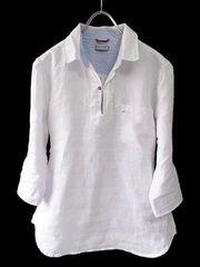 リネン5分袖プルオーバーシャツLホワイト白white新品※2点送料無料
