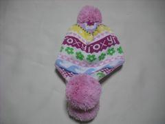 wb510 ROXY ロキシー 耳当て ボンボン付き ニット帽 柄