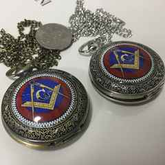 未使用 レア 秘密結社フリーメーソン紋章付懐中時計 金銀
