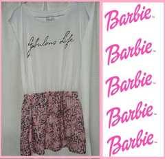 バービーピンクヒョウ柄スカート付きワンピースMサイズウエストゴム