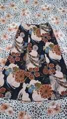 マキシスカート黒×茶系花柄エスニック