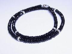 大特価!!!胸元に輝きを♪ブラックスピネル4ミリ数珠ネックレス