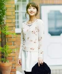 美品レッセパッセ ラベンダー 花柄 ニット セーター