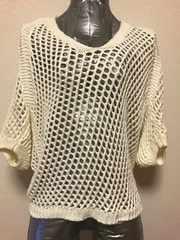 かぎ編み七分袖透かしドルマンニット