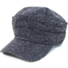 帽子♪リンクルMIXニット ギャザー ワークキャップ*ブラックMIX
