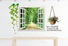 窓から緑の森 ウォールステッカー 壁紙 シール WS13