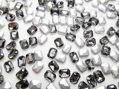 e45★6×8mm★長方形型ガラスストーン★ブラックダイヤモンド色★10粒