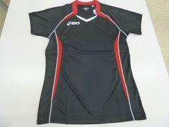 M 黒赤)アシックス★XW1306 ゲームシャツ半袖 Tシャツ 薄手 吸汗速乾 asics