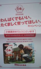 丸大食品オリジナルクオカード当選品
