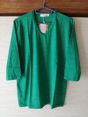 新品未使用タグ付きメンズ七分袖TシャツロンTロンティーサイズLグリーン