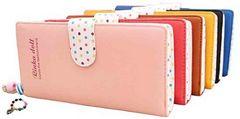 【ラスト一点♪】二つ折り レザー 長財布 (ピンク)