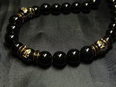 仏様彫梵字オニキス×ブラックオニキス数珠ネックレス!!オラオラ系