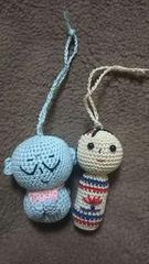 手編みのあみぐるみ、お地蔵さんとこけしさん