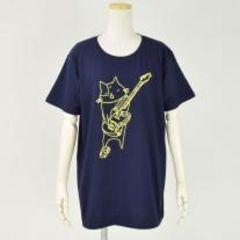 mintNeko・ネコ&ギターイラストTシャツ。ネイビー