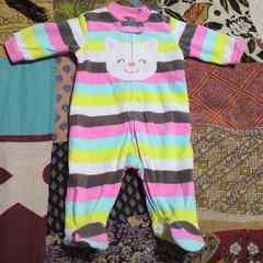babycarter's/カーターズベロア ボーダー猫 靴下付きカバーオール 60�p
