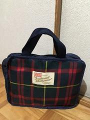 トラディショナルウェザーウェア英国風チェック柄ボックス型バッグ/送料140円
