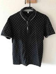 ブラックドット柄ポロシャツ XL
