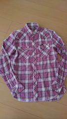 ヒステリックグラマーHysteric/ピンク×白×紺チェックシャツ/M/キムタク ゴローズ好きに