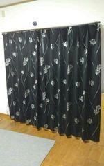 黒×シルバー花☆カーテン size約178×100